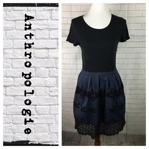 Anthropologie tee shirt lace trim dress
